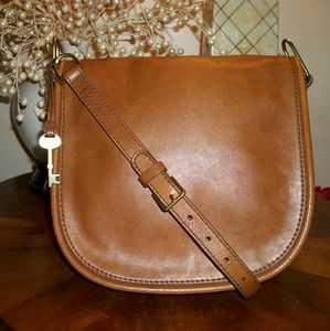 Beautiful FOSSIL LEATHER Crossbody Messenger Bag